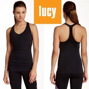 LUCY Black Racerback Workout Cutout Tank Top Small